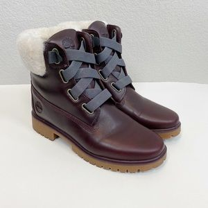 Timberland Jayne Burgundy Shearling Boots Size 8.5